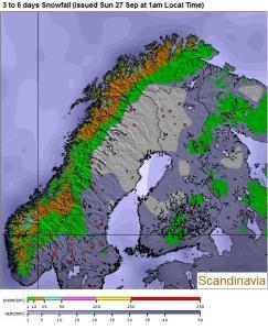Pronóstico nieve Escandinavia