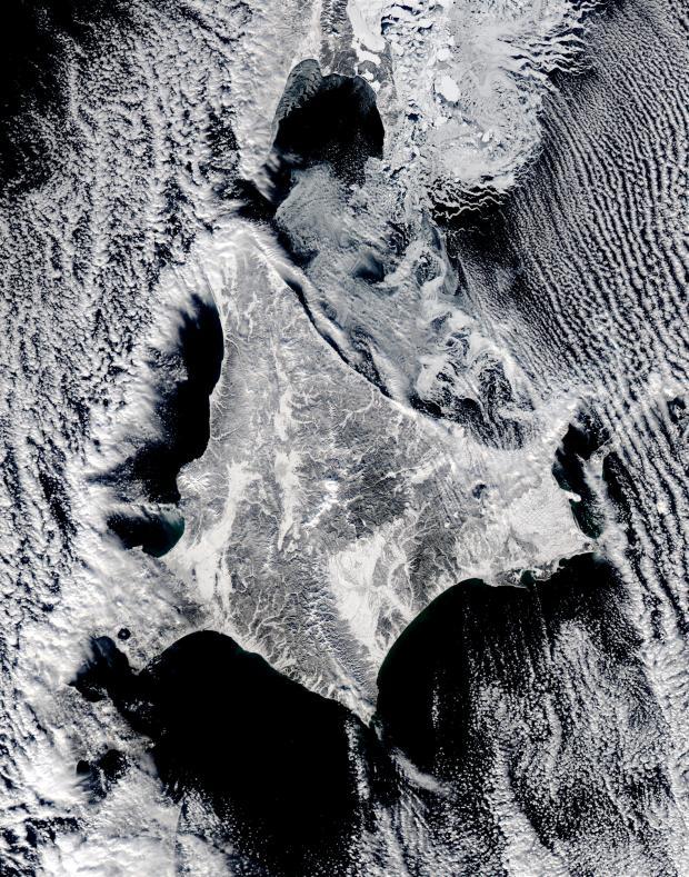 Satellite image of Hokkaido, Japan, January 2003